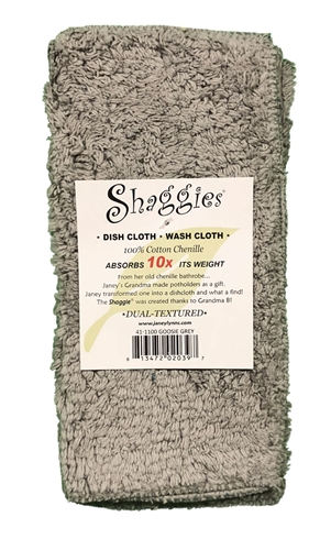 Goosie Grey Shaggies by Janey Lynn's Designs.  The super soft multipurpose cloth that goes with EVERY decor.